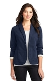 Women's Fleece Casual Blazer Dark Navy Heather Thumbnail