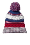 Pom Pom Team Beanie True Red with True Royal and White Thumbnail