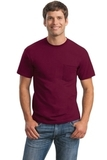 Ultra Cotton 100 Cotton T-shirt With Pocket Maroon Thumbnail