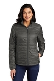 Ladies Packable Puffy Jacket Sterling Grey with Graphite Thumbnail