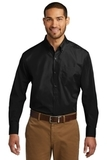 Port Authority Long Sleeve Carefree Poplin Shirt Deep Black Thumbnail