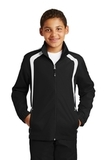 Youth Colorblock Raglan Jacket Black with White Thumbnail