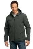 Textured Hooded Soft Shell Jacket Mineral Green with Soft Orange Thumbnail