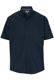 Men's Easy Care Poplin Shirt SS Navy Thumbnail