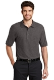 Extended Size Silk Touch Polo Shirt Charcoal Heather Grey Thumbnail