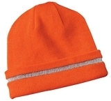 Safety Beanie With Reflective Stripe Safety Orange with Reflective Thumbnail