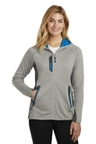 Women's Eddie Bauer Sport Hooded Full-Zip Fleece Jacket Grey Cloud with Grey Steel and Expedition Blue Thumbnail