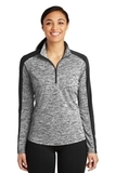 Women's Electric Heather Colorblock 1/4-Zip Pullover Black Electric with Black Thumbnail