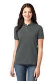 Women's Pique Knit Polo Shirt Steel Grey Thumbnail