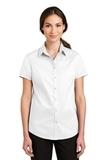 Women's Short Sleeve SuperPro Twill Shirt White Thumbnail