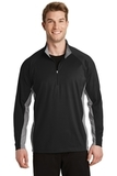 SportWick Stretch Contrast 1/2-Zip Pullover Black with Charcoal Grey Heather Thumbnail