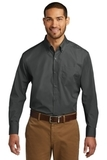 Port Authority Long Sleeve Carefree Poplin Shirt Graphite Thumbnail