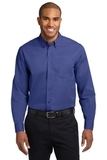 Tall Long Sleeve Easy Care Shirt Mediterranean Blue Thumbnail