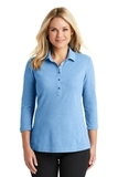 Women's Coastal Cotton Blend Polo Moon Light Blue with White Thumbnail