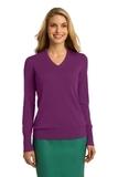 Women's Port Authority V-neck Sweater Deep Berry Thumbnail
