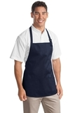 Medium Length Apron With Pouch Pockets Navy Thumbnail
