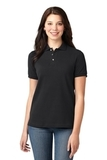 Women's Pique Knit Polo Shirt Black Thumbnail