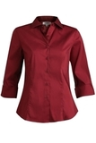 3/4 Sleeve Stretch Broadcloth Blouse Burgundy Thumbnail