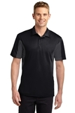 Side Blocked Performance Micropique Polo Shirt Black with Iron Grey Thumbnail