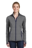 Women's Sport-Wick Stretch Contrast Full-Zip Jacket Charcoal Grey Heather with True Navy Thumbnail