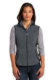 Women's Port Authority R-tek Pro Fleece Full-zip Vest Charcoal Heather with Black Thumbnail