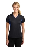 Women's Side Blocked Micropique Polo Shirt Black with True Royal Thumbnail