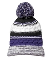 Pom Pom Team Beanie Purple with Black and White Thumbnail