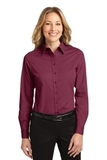Women's Long Sleeve Easy Care Shirt Burgundy with Light Stone Thumbnail