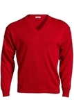 Men's 100 Acrylic V-neck Sweater Red Thumbnail