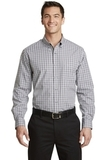 Long Sleeve Gingham Easy Care Shirt Black with Charcoal Thumbnail