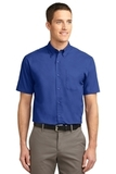 Short Sleeve Easy Care Shirt Royal with Classic Navy Thumbnail