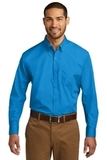 Port Authority Long Sleeve Carefree Poplin Shirt Coastal Blue Thumbnail