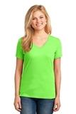 Women's 5.4-oz 100 Cotton V-neck T-shirt Neon Green Thumbnail