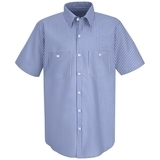 Short Sleeve Industrial Work Shirt With Stripe GM Blue White Stripe Thumbnail