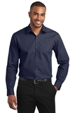 Slim Fit Carefree Poplin Shirt River Blue Navy Thumbnail