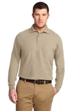 Silk Touch Long Sleeve Polo Shirt Stone Thumbnail
