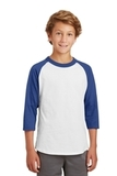 Youth Colorblock Raglan Jersey White with Royal Thumbnail