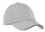 Washed Twill Sandwich Cap Chrome with Black Thumbnail