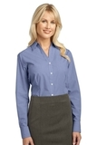 Women's Plaid Pattern Easy Care Shirt Navy Thumbnail