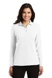 Women's Silk Touch Long Sleeve Polo Shirt White Thumbnail