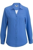 Redwood & Ross Ladies Open Neck Long Sleeve Blouse French Blue Thumbnail