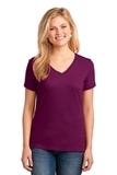 Women's 5.4-oz 100 Cotton V-neck T-shirt Raspberry Thumbnail