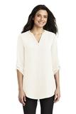 Women's 3/4-Sleeve Tunic Blouse Ivory Chiffon Thumbnail