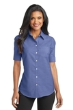 Women's Short Sleeve Superpro Oxford Shirt Navy Thumbnail