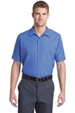 Short Sleeve Striped Industrial Work Shirt Petrol Blue with Navy Thumbnail