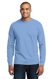 Long Sleeve 50/50 Cotton / Poly T-shirt Light Blue Thumbnail