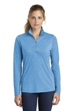 Women's Tri-Blend Wicking 1/4-Zip Pullover Pond Blue Heather Thumbnail