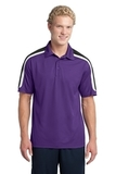 Micropique Shoulder Block Polo Purple with Black and White Thumbnail