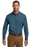 Port Authority Long Sleeve Carefree Poplin Shirt Dusty Blue Thumbnail