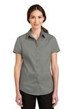Women's Short Sleeve SuperPro Twill Shirt Monument Grey Thumbnail